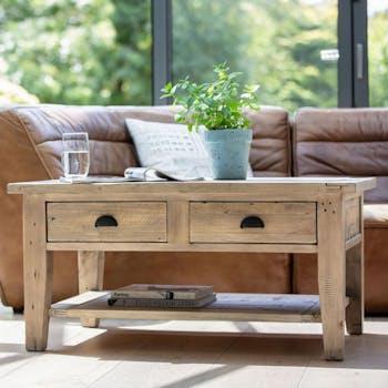 Table basse double plateau bois recyclé clair SALERNE