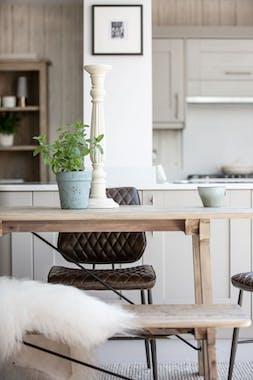 Table à manger bois recyclé clair tréteaux 160 cm SALERNE
