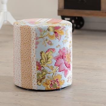 Pouf bas rond tissu fleuri multicolore 31x31x34cm VALENTINE