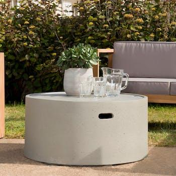Table basse jardin béton forme ronde SUMMER