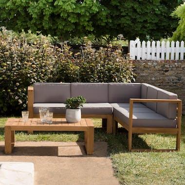 Salon de jardin en teck SUMMER (1 canapé d'angle 5 places, 1 table basse)