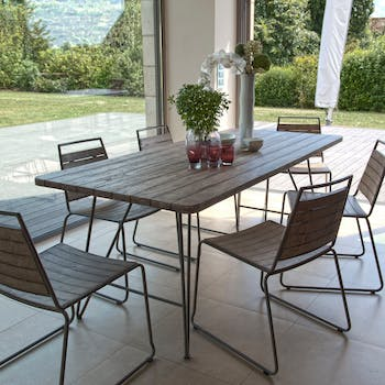 Salon de Jardin Table Teck 200x90cm + 6 chaises empilables DETROIT ref. 30020820