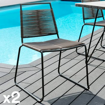Chaise de jardin empilable cordage DETROIT (lot de 2)