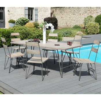Salon de Jardin Table Teck 200x90cm + 6 chaises DETROIT ref. 30020821