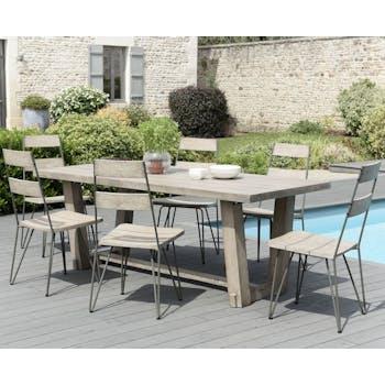 Salon de Jardin Teck Acier Table 200x90cm + 6 chaises DETROIT ref. 30020825