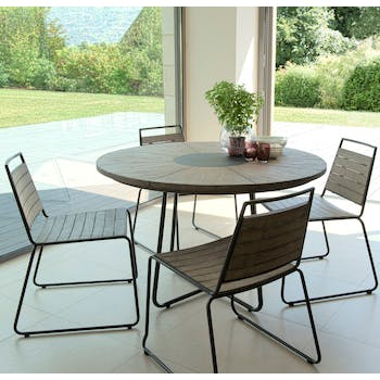 Salon de Jardin Teck Table D120 + 4 chaises empilables DETROIT ref. 30020827
