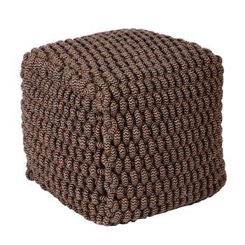 Pouf carré marron grosses mailles zigzag noir