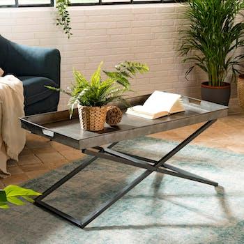 Table basse métal zinc pieds croisés BOSTON