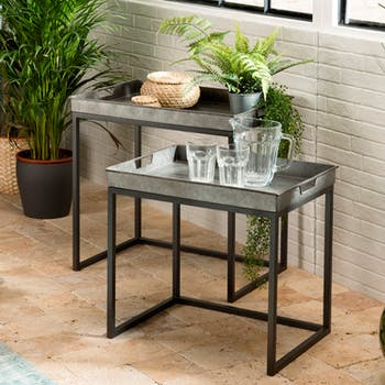 Table gigogne industrielle métal zinc (lot de 2) BOSTON