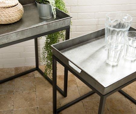 Table gigogne industrielle métal zinc (lot de 2) BOSTON