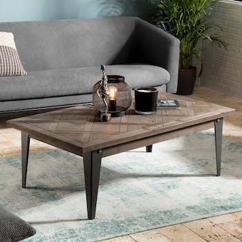 Table basse bois de sapin en marqueterie pieds métal RIGA