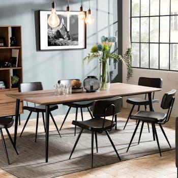 Table à manger 8 personnes revêtement acacia métal SYDNEY