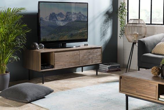 Meuble tv avec rangement revêtement acacia motif linéaire SYDNEY