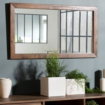 Miroir mural rectangulaire revêtement acacia SYDNEY