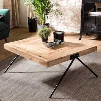 Table basse carrée bois de manguier piètement compas LIVERPOOL
