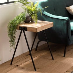 Bout de canapé carré bois de manguier piètement compas LIVERPOOL