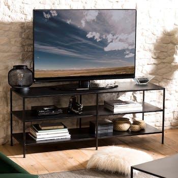 Meuble télé industriel métal noir 2 niveaux LIVERPOOL