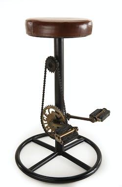 Tabouret de bar industriel cuir avec mécanisme vélo LIVERPOOL