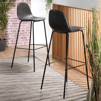 Chaise de bar noir TIM (lot de 2)