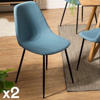 Chaise tissu bleu TIM (lot de 2)