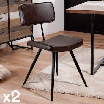 Lot de 2 Chaises Style Vintage en métal et tissu marron 41x59x82cm TIM