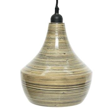 Suspension bambou forme poire stries 22 cm