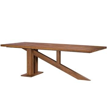Table à manger moderne piètement oblique chêne massif 240 cm OKA