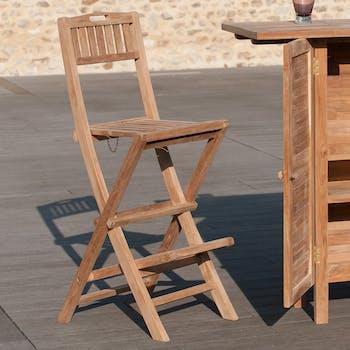 Chaise de bar de jardin en Teck brut massif Pliante SUMMER