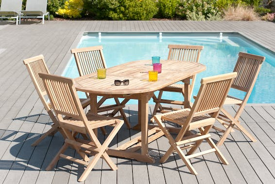 Salon de jardin Teck table ovale 150/200cm 6 chaises SUMMER