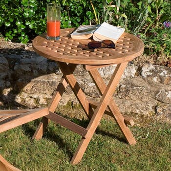 Table d'appoint de jardin en Teck ronde pliante 50cm SUMMER