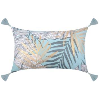 Coussin tropical bleu clair à pompons 30x50