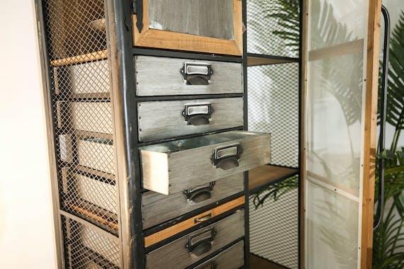 Armoire industrielle métal bois Lamphun