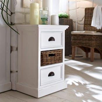 Bout de canapé bois blanc 2 tiroirs acajou 1 panier rotin 40x60cm ROYAN