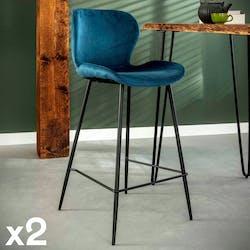 Chaise de bar en velours bleu MELBOURNE (lot de 2)