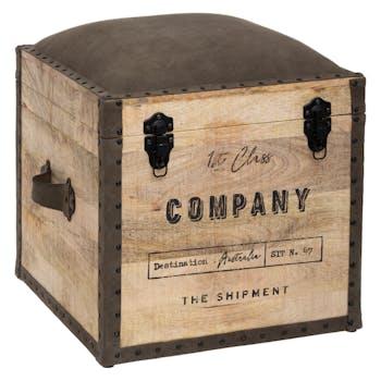 """Pouf coffre colonial """"Company"""""""