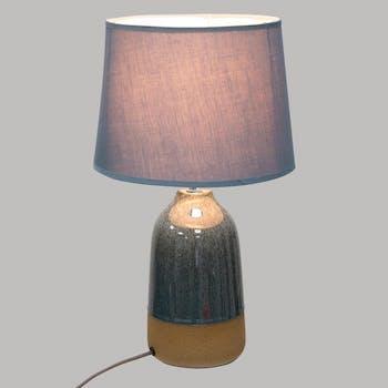 Lampe en céramique bleue pied bicolore 43 cm
