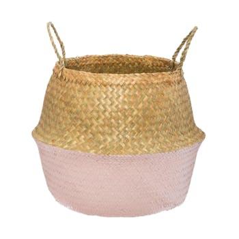 Panier à anses en roseau bicolore tons rose M1