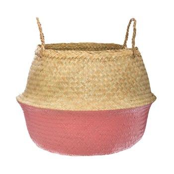 Panier à anses en roseau bicolore tons rose M2
