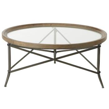Table basse ronde plateau verre contour bois