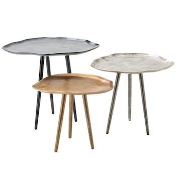 Table d'appoint en aluminium (lot de 3)