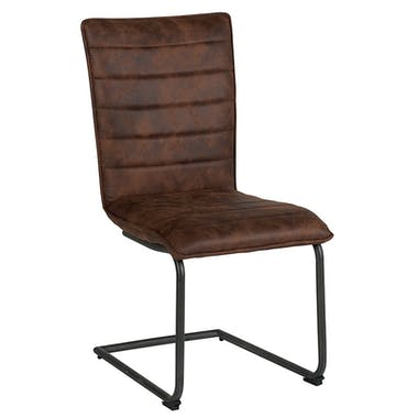 Chaise en tissu microfibres havane et pieds métal noir 46x91x62cm