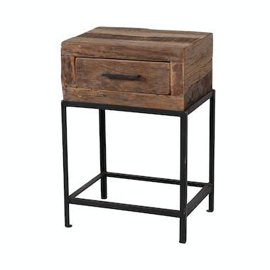 Table de chevet bois recyclé brut 1 tiroir PRETORIA