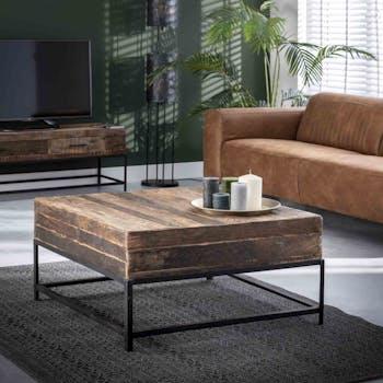 Table basse carrée bois recyclé brut PRETORIA