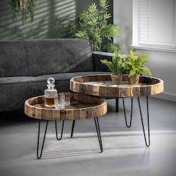 Table basse gigogne bois recyclé brut (2 pièces) PRETORIA
