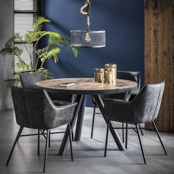 Table à manger ronde teck recyclé lamelles cerclage métal D120 JAVA