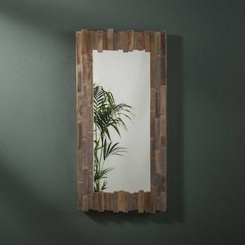 Miroir décoratif vertical dentelé teck recyclé grisé JAVA
