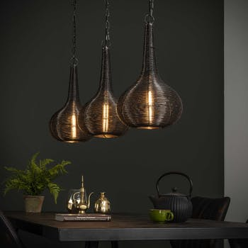 Suspension contemporaine 3 lampes forme goutte métal vieilli TRIBECA