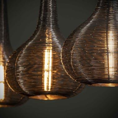 Suspension contemporaine 3 lampes forme goutte métal vieilli TRIBECA