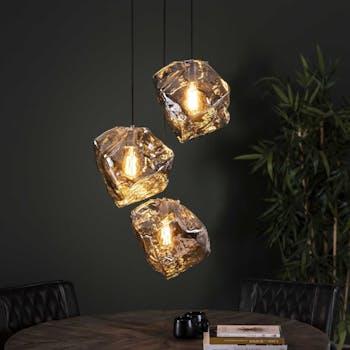 Suspension contemporaine 3 lampes effet glaçon finition chromée NIAGARA