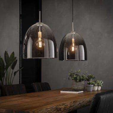 Suspension verre chromé moderne 2 lampes RALF